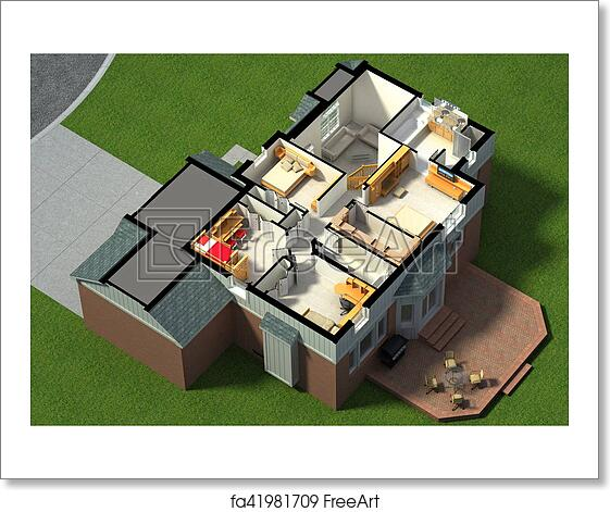 Free Art Print Of Isometric View Of A Furnished House 3d