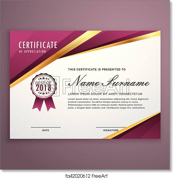 Free Art Print Of Modern Certificate Template Design With Golden