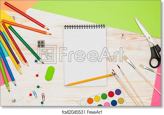 Free Art Print Of Office School Table Or Desk Seen From Above. Top View