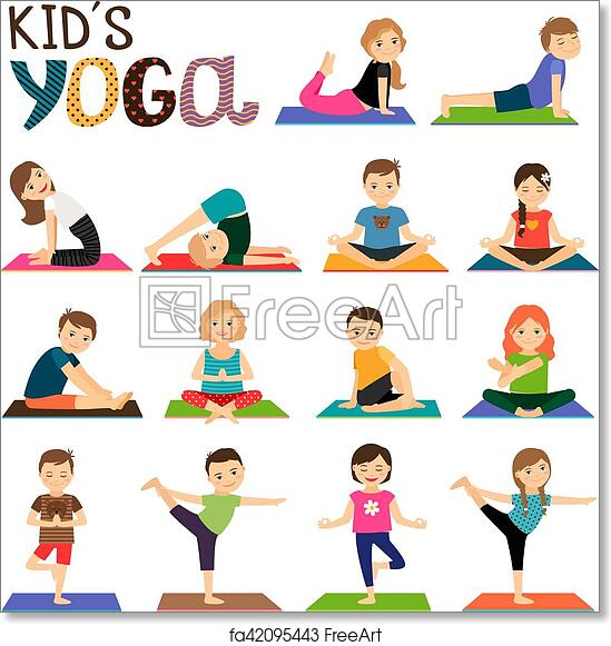 graphic about Kids Yoga Poses Printable named Absolutely free artwork print of Children yoga icons fastened
