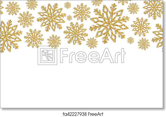 free art print of christmas frame with gold snowflakes border of