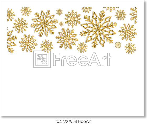 Christmas Frame.Free Art Print Of Christmas Frame With Gold Snowflakes Border Of Sequin Confetti