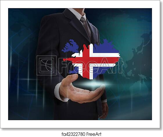 Free art print of Businessman showing map of Iceland on globe