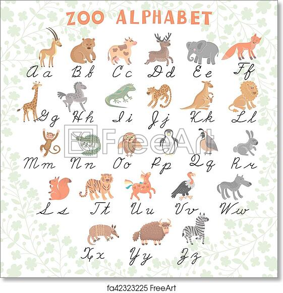 855758d7b Cute vector zoo alphabet. Funny cartoon animals. Letters. Learn to read and  to write. Vector Illustration. Isolated.