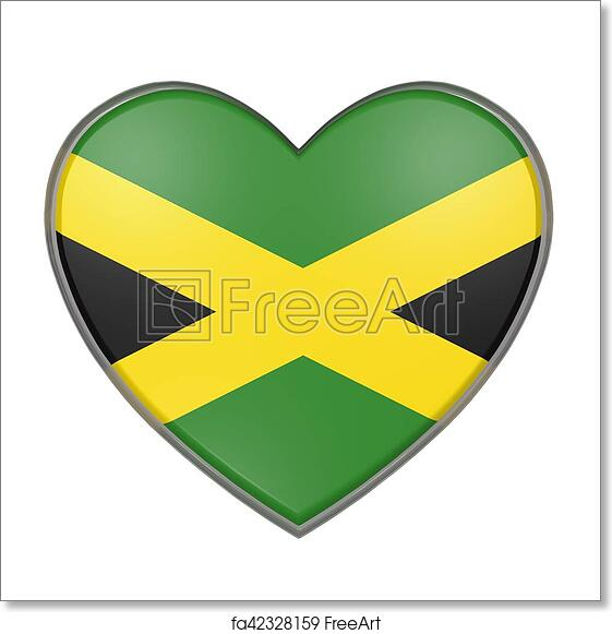 Free Art Print Of Jamaica Heart 3d Rendering Of A Jamaica Flag On A