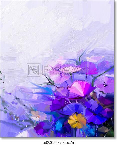 Free Art Print Of Abstract Oil Painting Of Spring Flowers Abstract