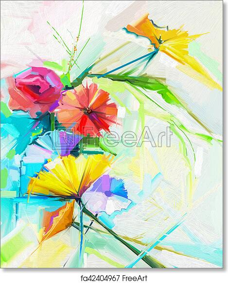 Free Art Print Of Abstract Oil Painting Of Spring Flower Still Life