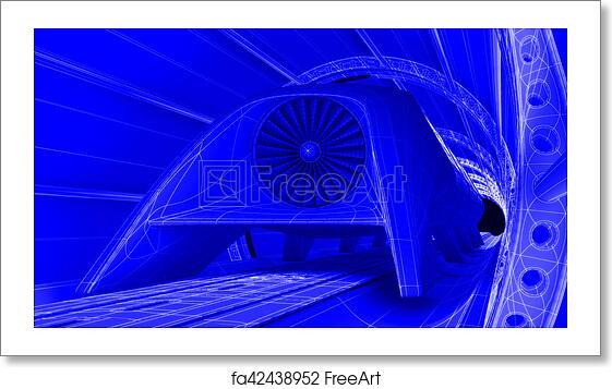 Free art print of futuristic train module on magnetic track free art print of futuristic train module on magnetic track blueprint background 3d rendering malvernweather Choice Image
