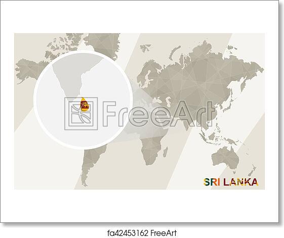 Free art print of Zoom on Sri Lanka Map and Flag. World Map.