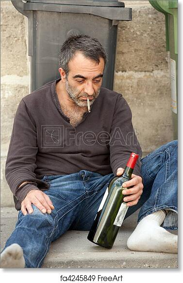 Free Art Print Of Poor Man Drunk Drunk Man Sitting On Sidewalk Near