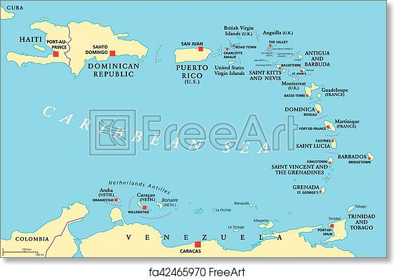 photograph about Printable Map of Puerto Rico known as Cost-free artwork print of More compact Antilles political map