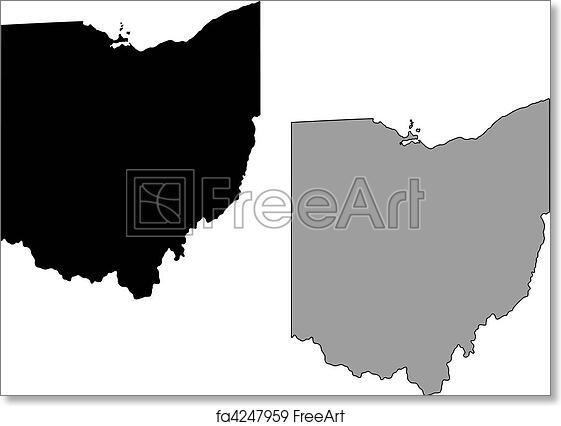 Free Ohio Map.Free Art Print Of Ohio Map Black And White Mercator Projection