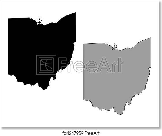 Free Ohio Map.Free Art Print Of Ohio Map Black And White Mercator Projection