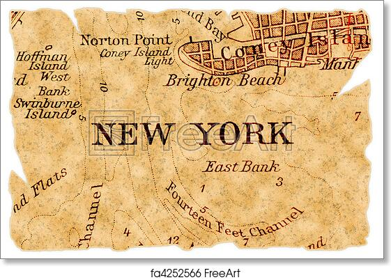 Old Map Of New York.Free Art Print Of New York Old Map