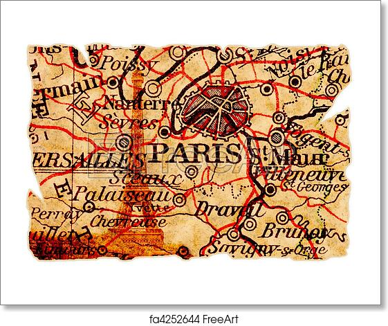 Free Art Print Of Paris Old Map Paris On An Old Torn Map With The