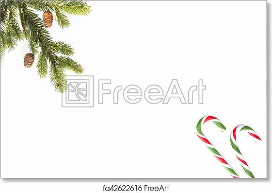 Christmas Top View.Free Art Print Of Christmas Composition Green Tree Twings And Candy Canes On White Background Top View Flat Lay Copy Space For Text