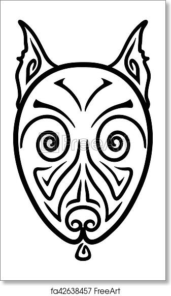 7070f9252 Free art print of American Pit Bull Terrier Dog head stylized hand drawing Maori  tattoo