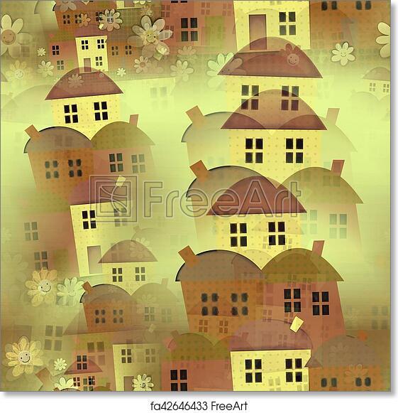Free Art Print Of Seamless Cartoon House Background