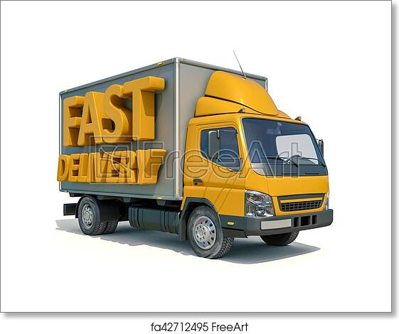 Free art print of Delivery Truck Icon. 3d render: Yellow Postal Truck and 3d sign Fast ...  Free art print ...