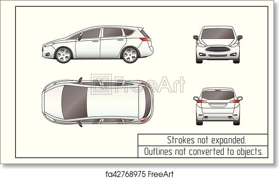 Free Art Print Of Car Van Drawing Outlines Not Converted To Objects