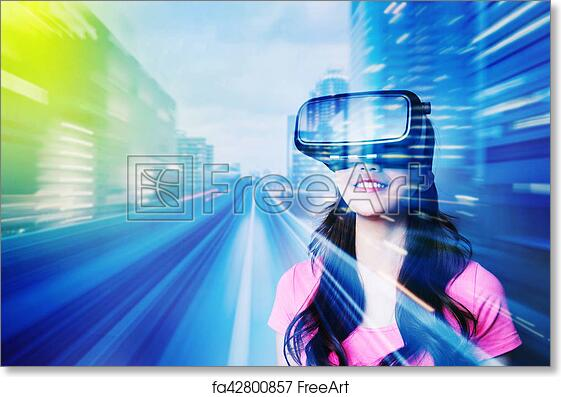 Free art print of Woman using VR headset glasses
