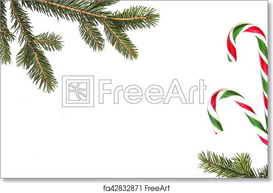 Christmas Top View.Free Art Print Of Christmas Composition Green Tree Twings Xmas Gifts And Candy Canes On White Background Top View Flat Lay Copy Space For Text