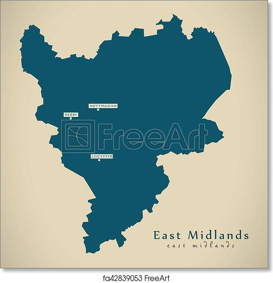 Free Art Print Of Modern Map East Midlands Uk England Illustration