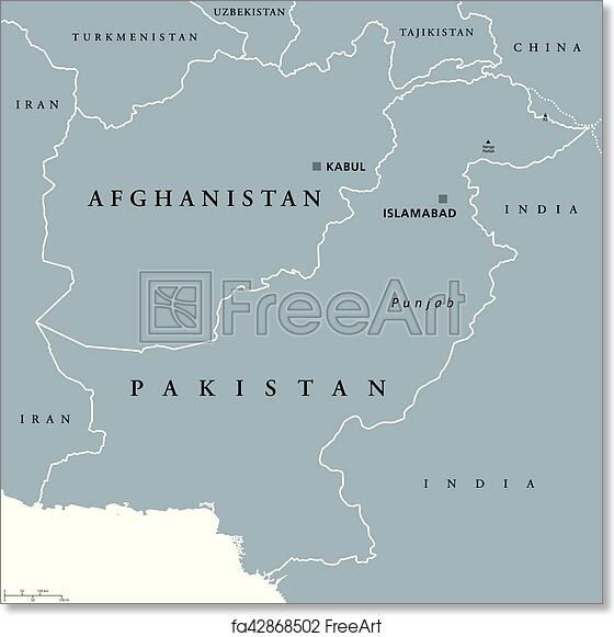 Free Art Print Of Afghanistan And Pakistan Political Map