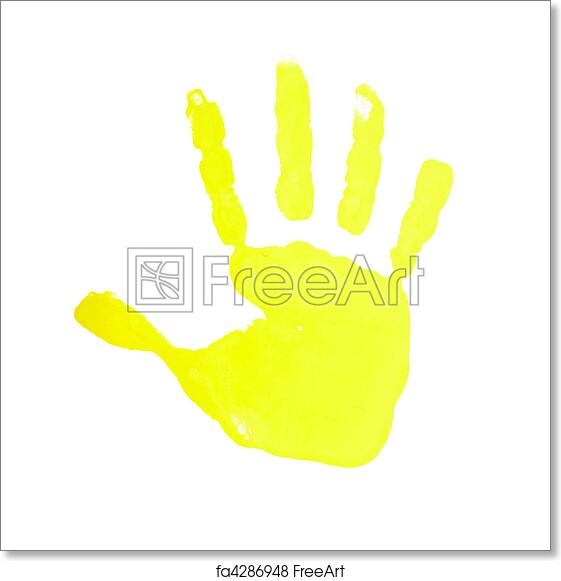 free art print of hand print color art craft trace paint close up