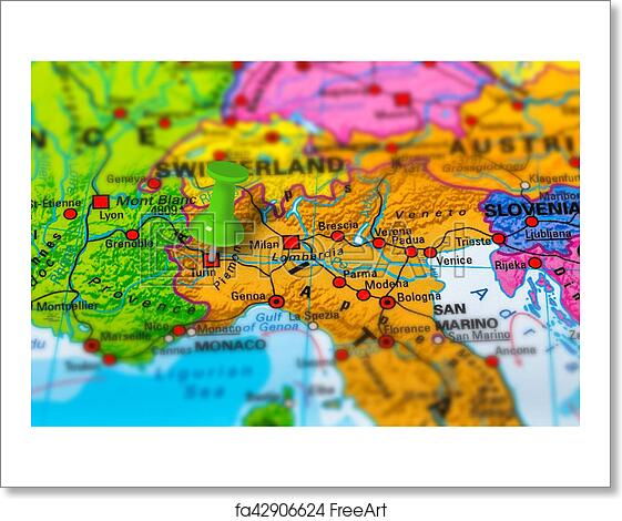 Free Art Print Of Turin Italy Map Turin In Italy Pinned On Colorful