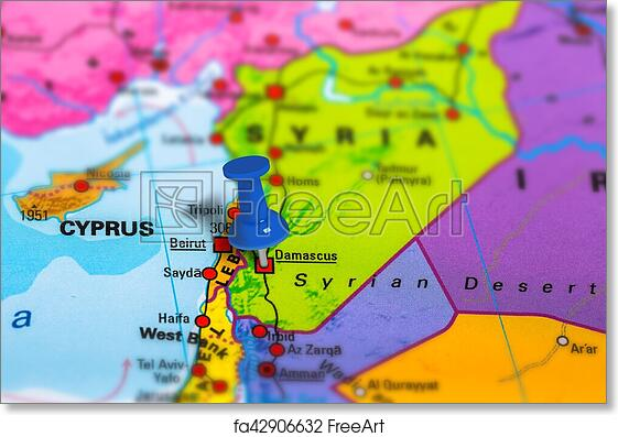 Free art print of Damascus Syria map. Damascus in Syria pinned on ...