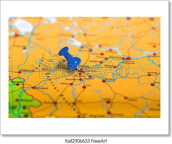 Free art print of Moscow Russia map. Moscow in Russia pinned on ...