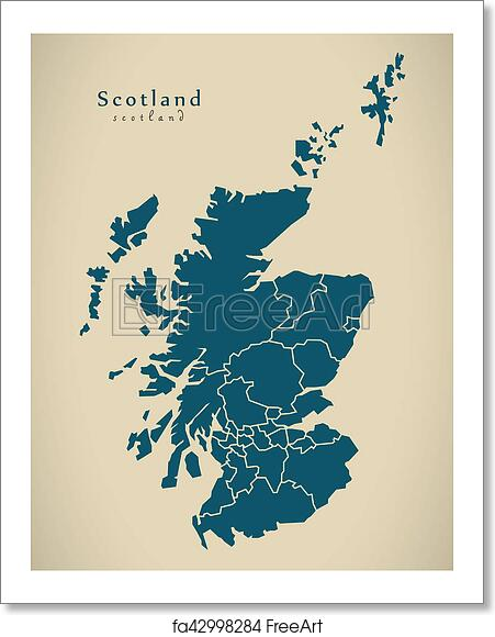 Free art print of modern map scotland with regions uk illustration free art print of modern map scotland with regions uk illustration gumiabroncs Image collections