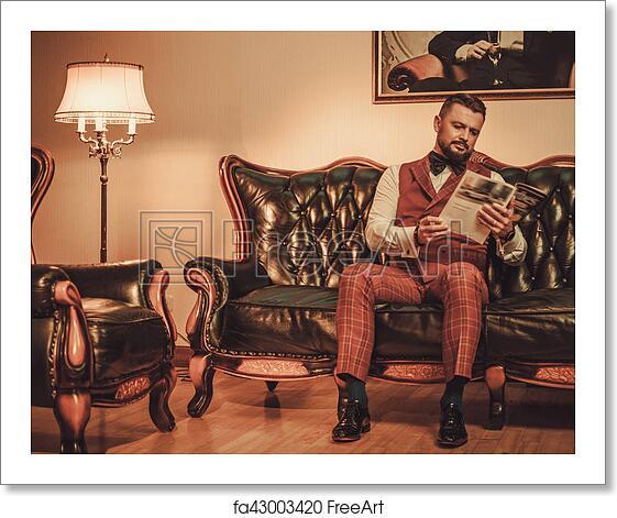 Free art print of Extravagant stylish man sitting on classic leather ...