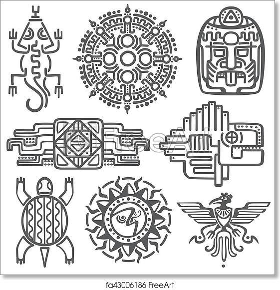 Free Art Print Of Ancient Mexican Vector Mythology Symbols American