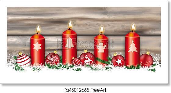 Christmas Header.Free Art Print Of Christmas Symbols 4 Candles Header Card Worn Wood