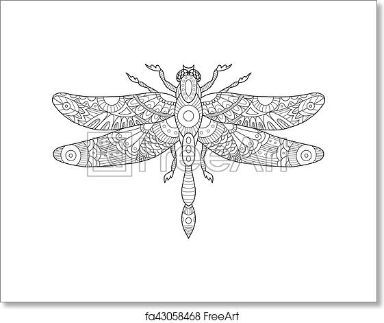 Free Art Print Of Dragonfly Coloring Book For Adults Vector