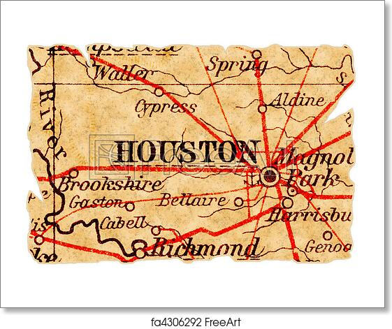 Old Map Of Texas.Free Art Print Of Houston Old Map