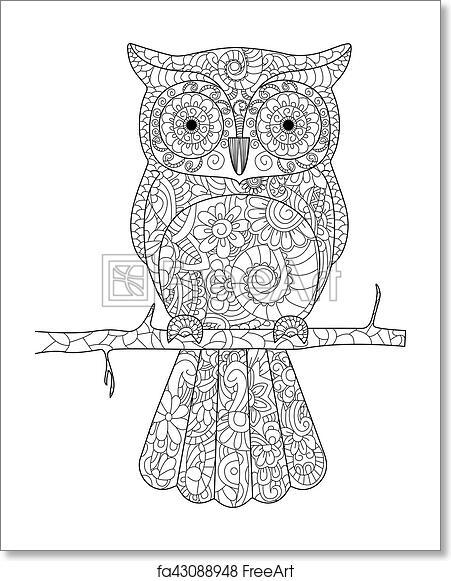 Free art print of Owl on a branch Coloring book vector for adults ...