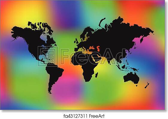 Colorful World Map Art.Free Art Print Of Colorful World Map Illustration World Map