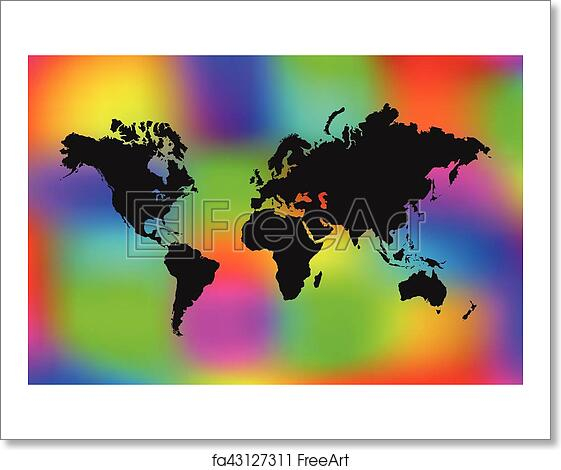Colorful World Map Art.Free Art Print Of Colorful World Map Illustration World Map