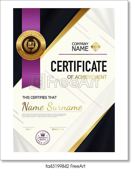 free art print of modern certificate of achievement template modern