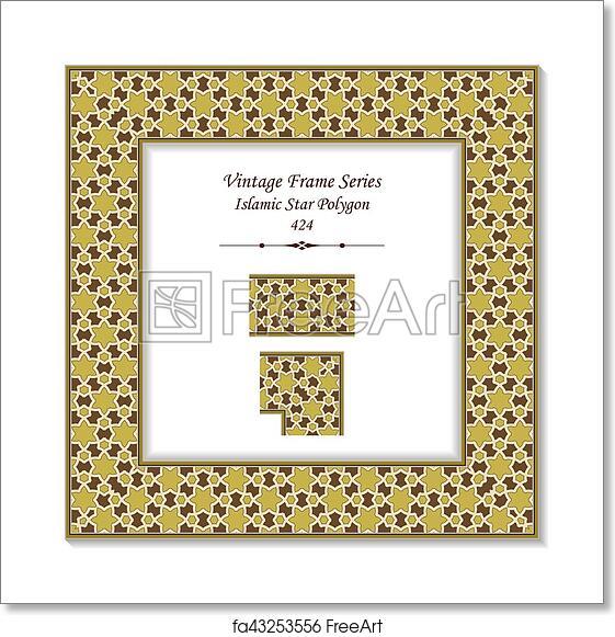 Free art print of Vintage 3D frame of Islamic Star Polygon Cross ...