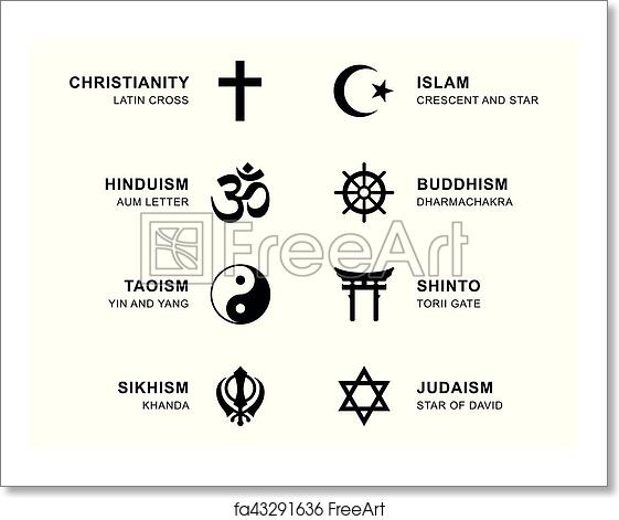 Free Art Print Of World Religion Symbols With English Labeling