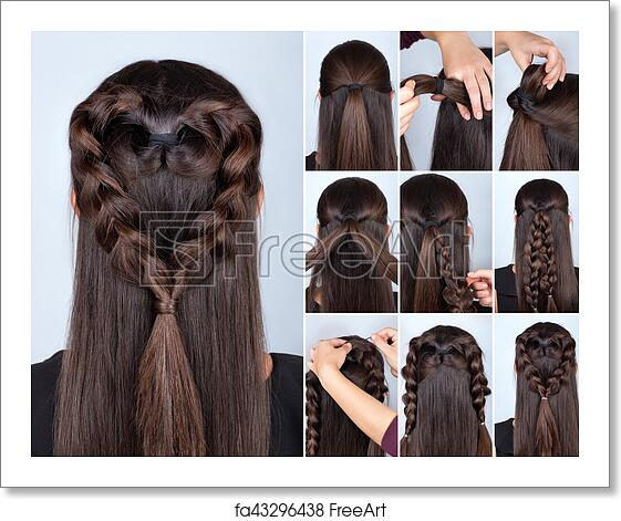 Free Art Print Of Braid Heart Hairstyle Tutorial Simple Braid Hairstyle Heart Tutorial Hairstyle For Long Hair For Valentine S Day Hairstyle Tutorial Hair Model Freeart Fa43296438
