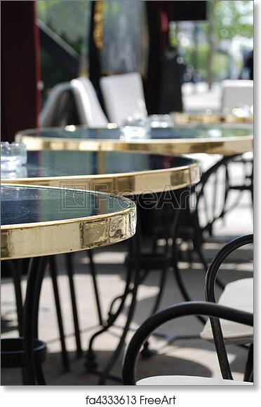Free Art Print Of Paris Cafe Street Paris Cafe Tables Sunny Morning - Paris cafe table