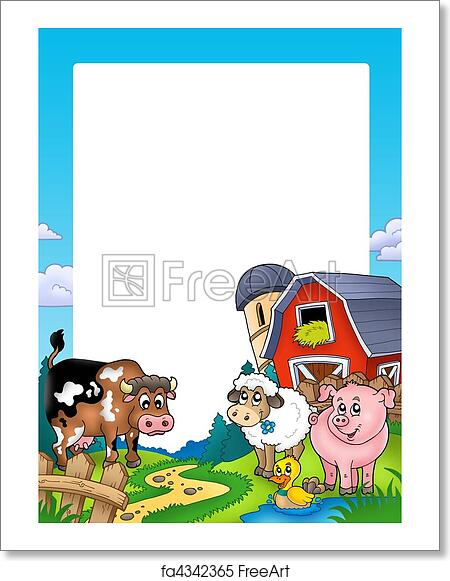 Free art print of Frame with barn and farm animals. Frame with barn ...