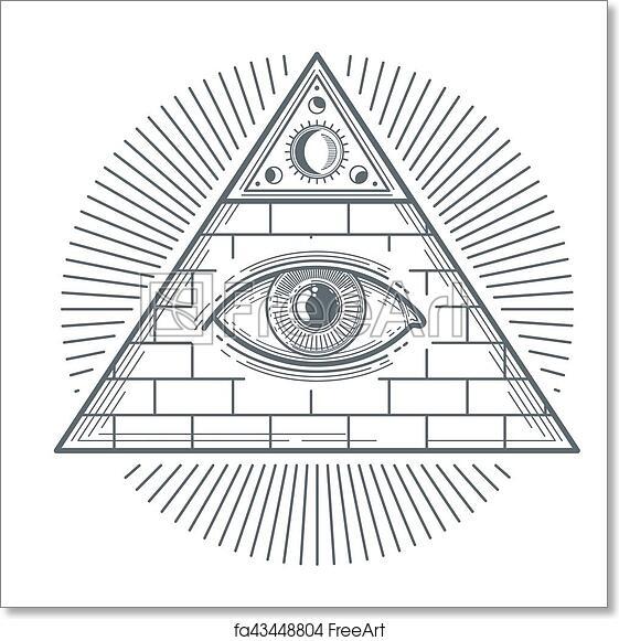 Free Art Print Of Mystical Occult Sign With Freemasonry Eye Symbol