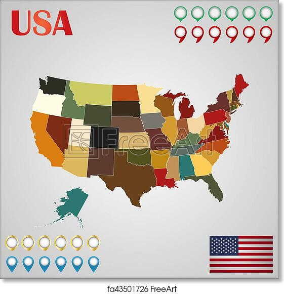 Free art print of United States map with separated states, flag and ...