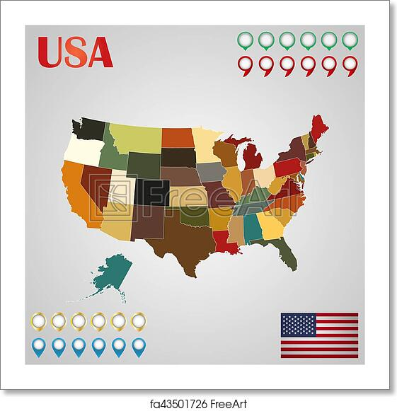 Free Art Print Of United States Map With Separated States Flag And